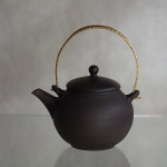 Jinshu Black Metal Handle Shell Gold Small Teapot, Tokoname, Japanese Kyusu (1)