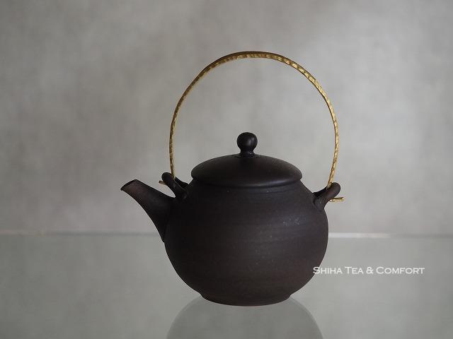 Jinshu Black Metal Handle Shell Gold Small Teapot, Tokoname, Japanese Kyusu (1)