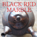 black red marble teapot